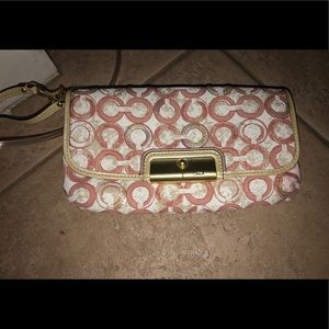 Pink and Gold Coach wristlet/ Clutch